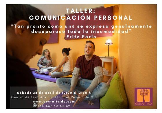 """Nuevo taller: """"Comunicación Personal"""" en Vic"""